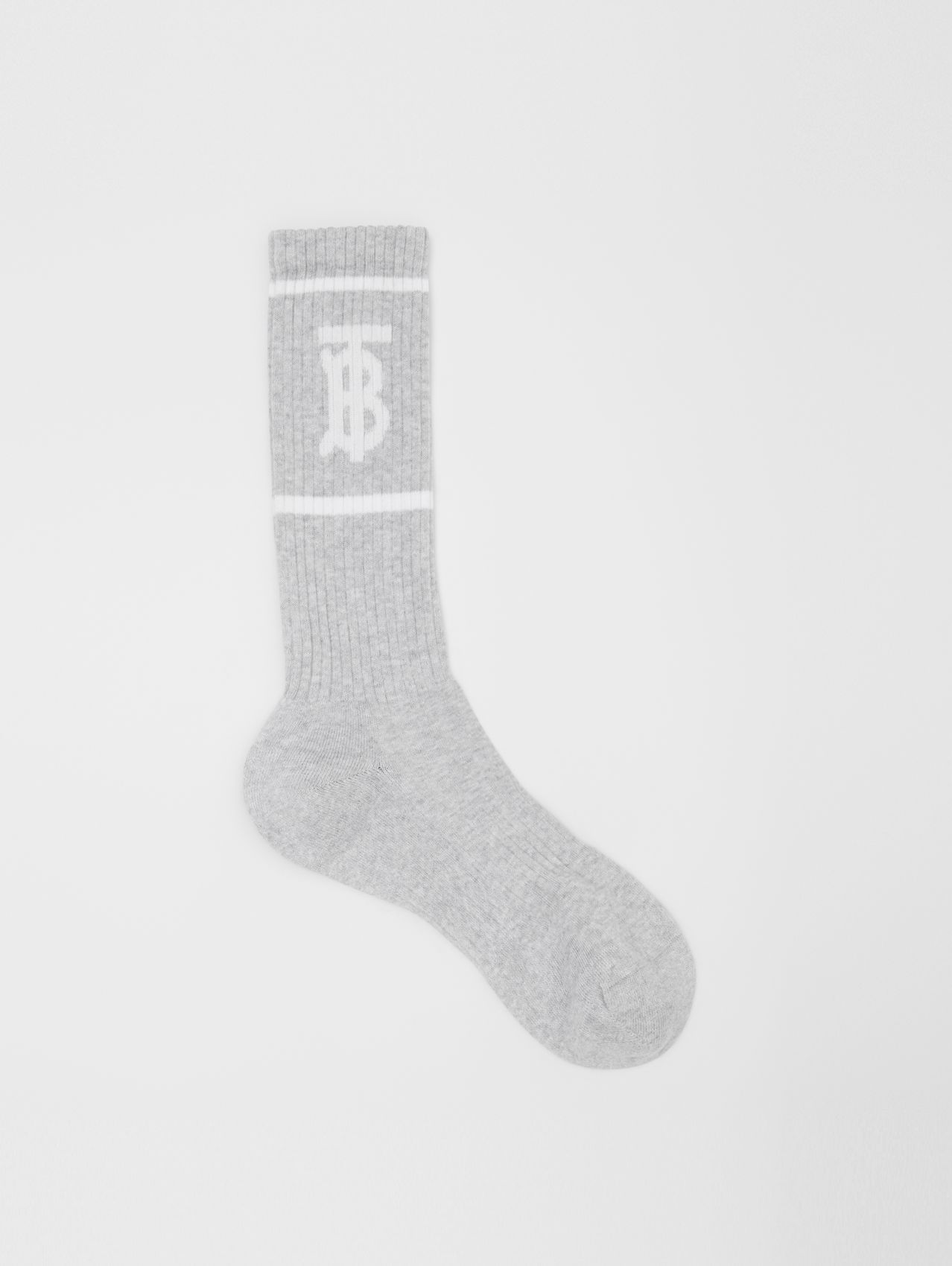 Monogram Motif Intarsia Socks (Pebble Grey)