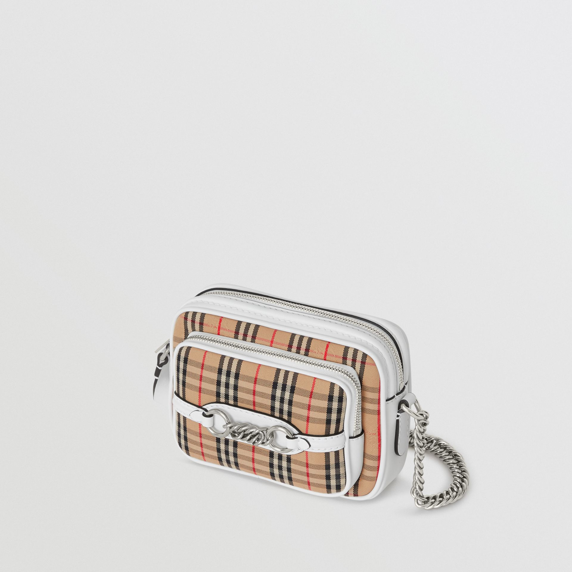 The 1983 Check Link Camera Bag in Chalk White - Women | Burberry - gallery image 4