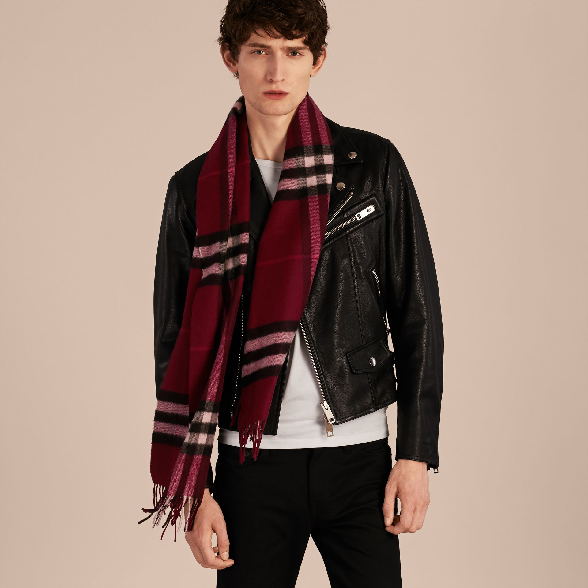 The Classic Cashmere Scarf in Check in Plum - gallery image 4