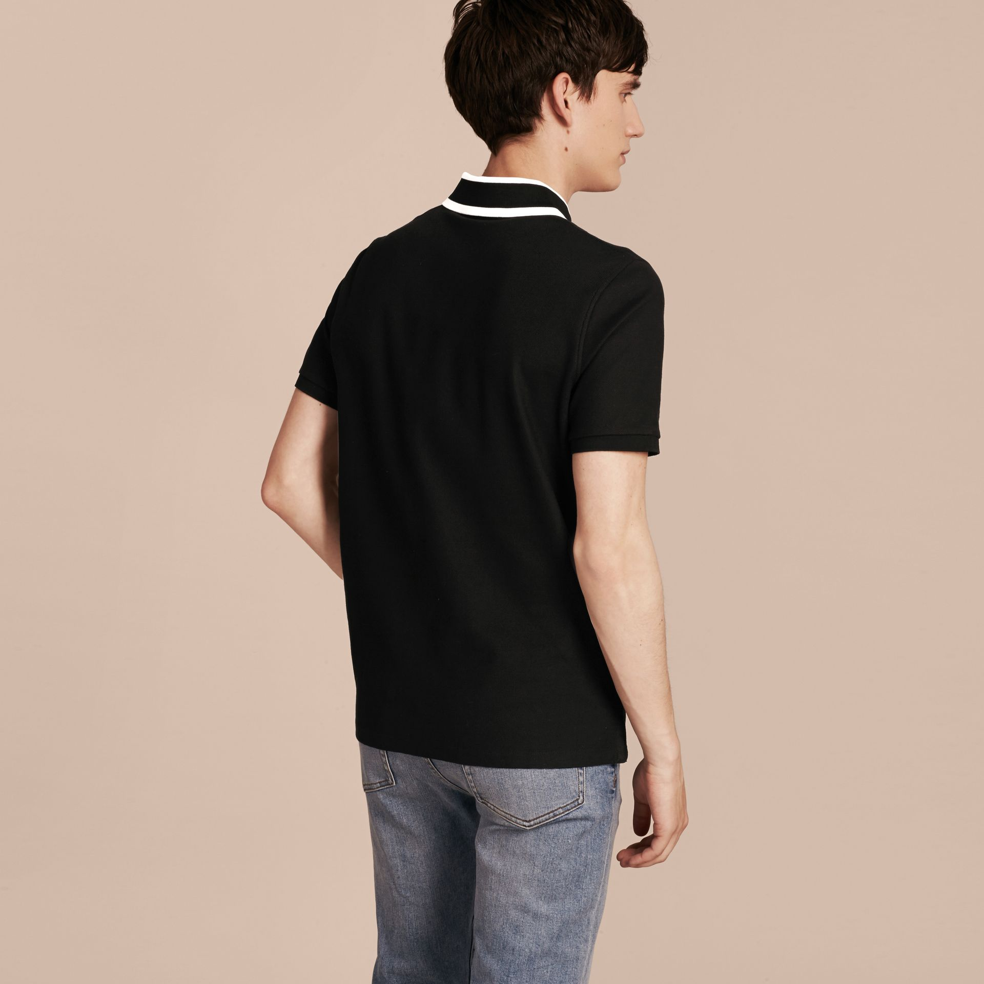 Striped Collar Cotton Piqué Polo Shirt Black - gallery image 3
