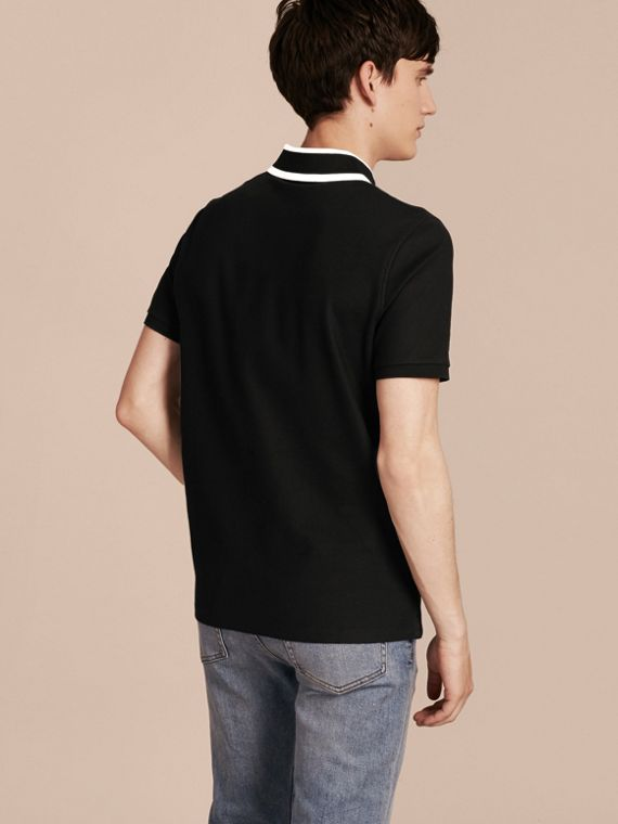 Black Striped Collar Cotton Piqué Polo Shirt Black - cell image 2