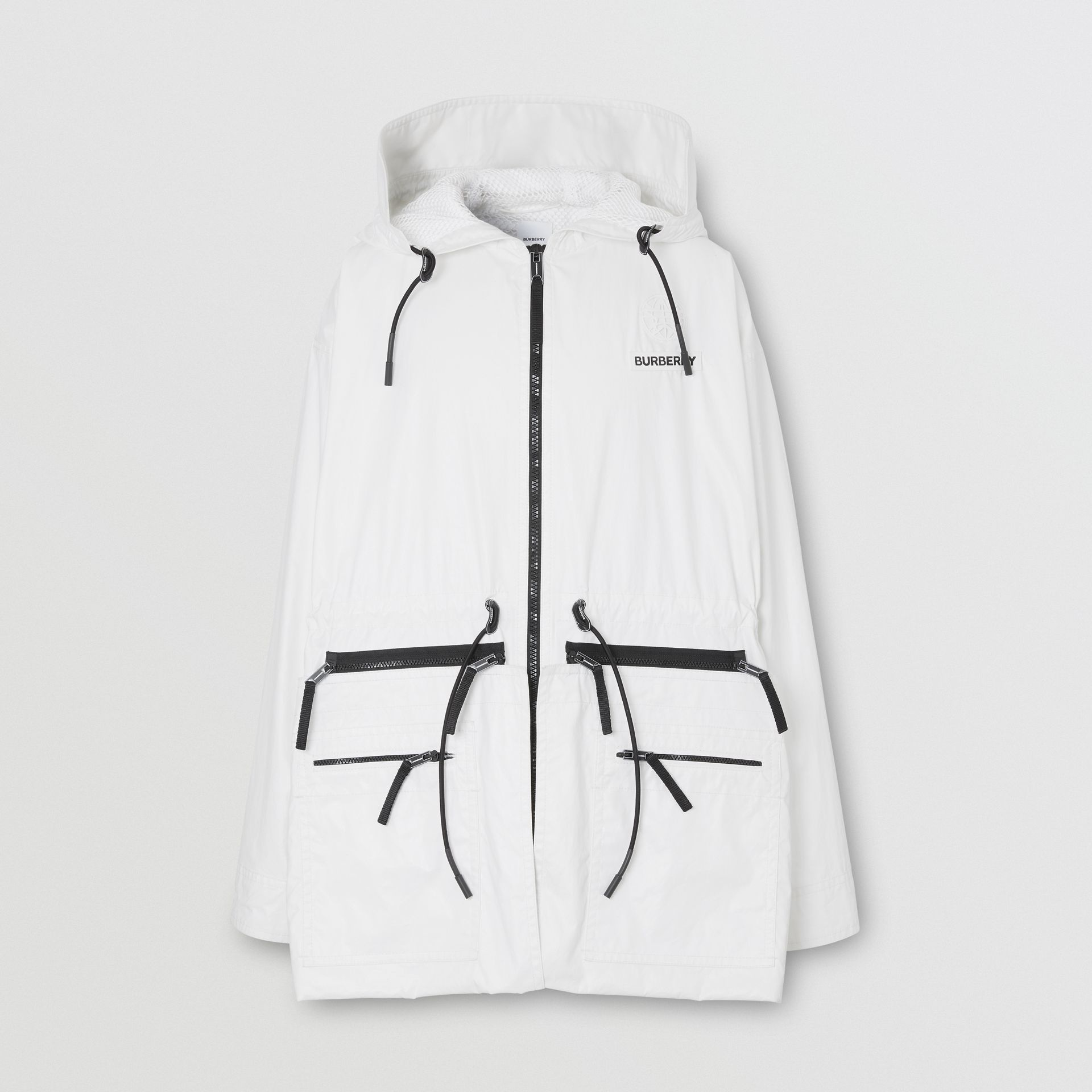 Zip Panel Technical Cotton Parka in Optic White | Burberry - gallery image 3
