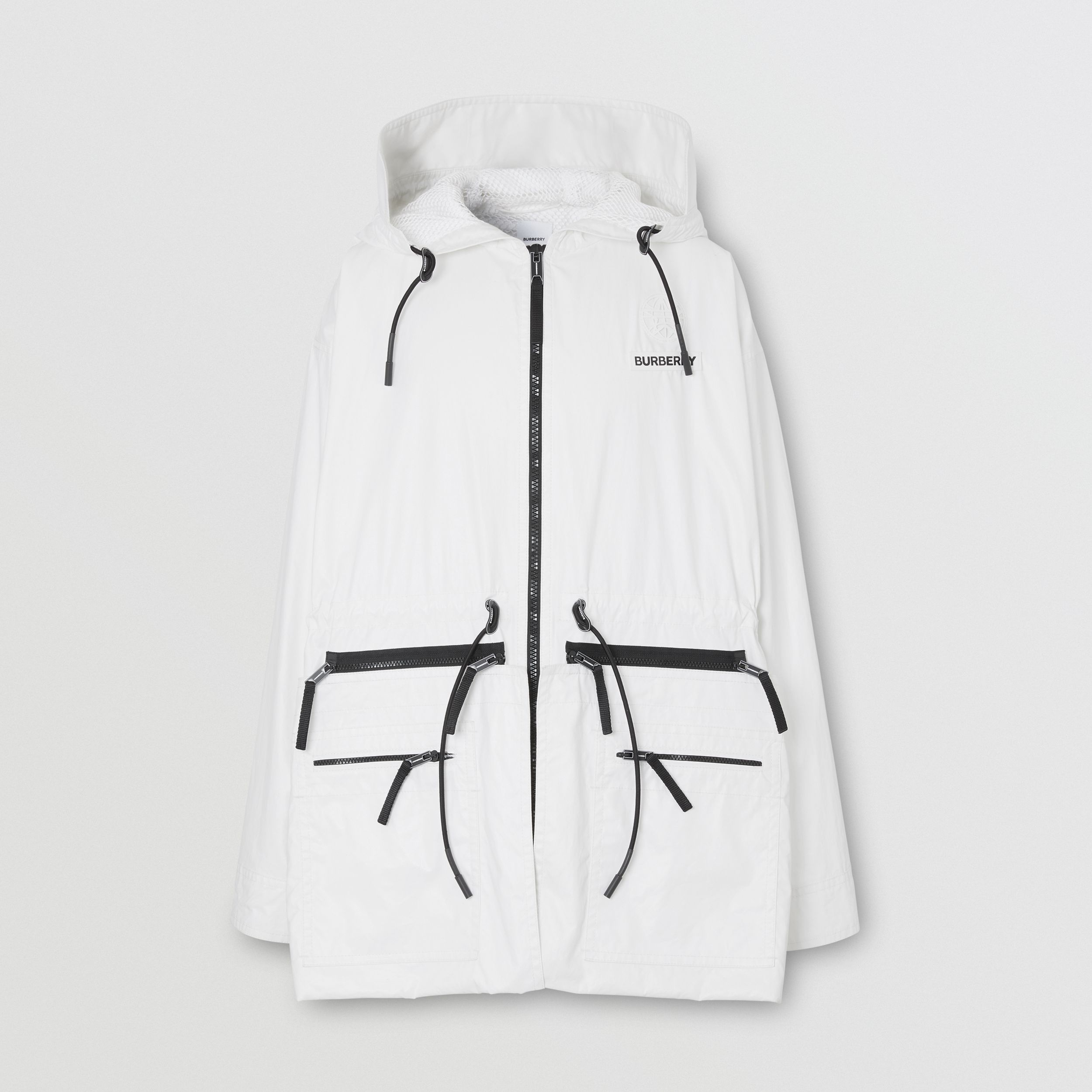 Zip Panel Technical Cotton Parka in Optic White - Men | Burberry - 4