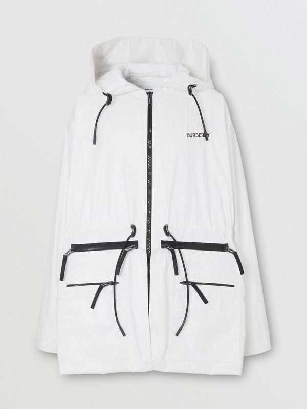 Zip Panel Technical Cotton Parka in Optic White | Burberry - cell image 3