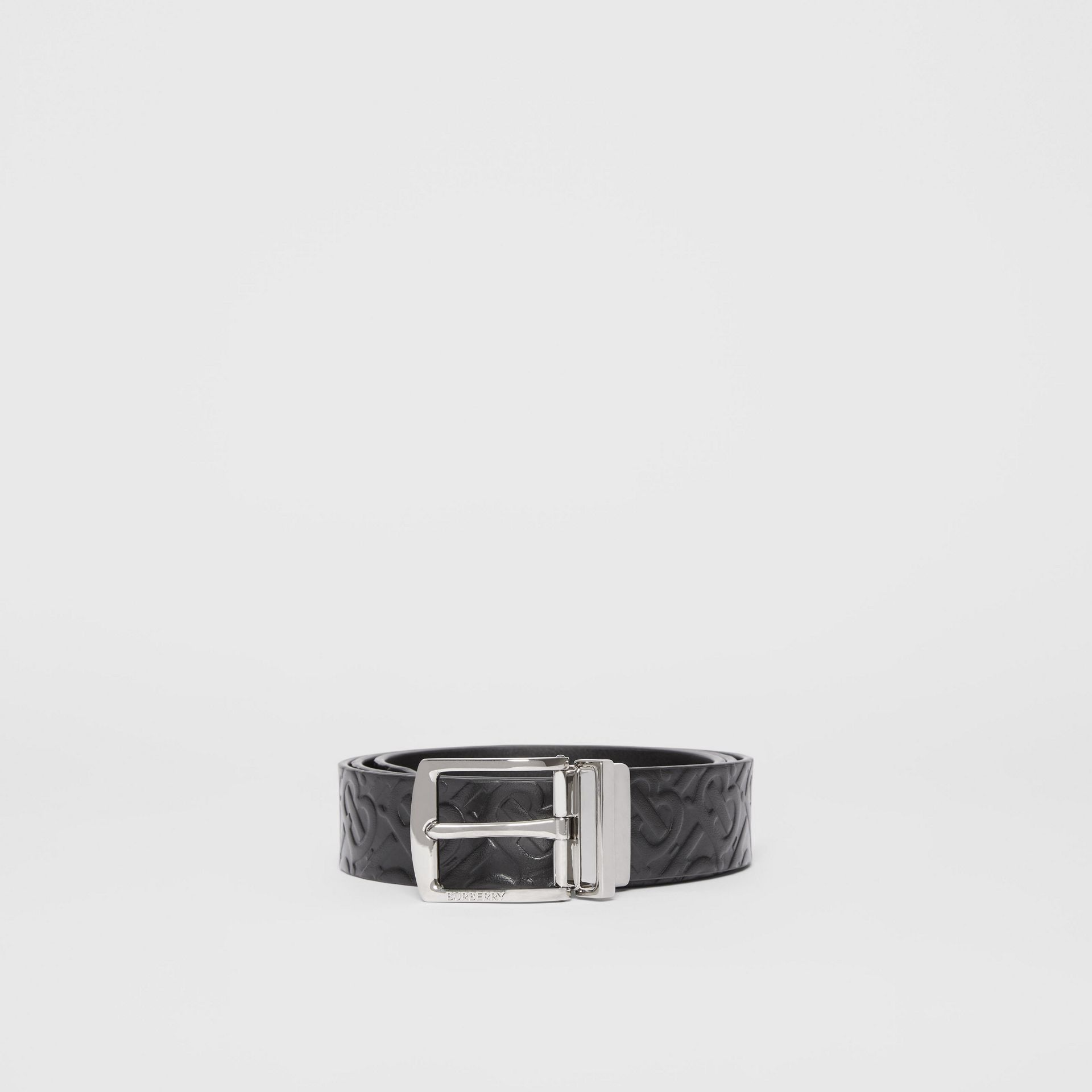Reversible Monogram Leather Belt in Black - Men | Burberry - gallery image 4