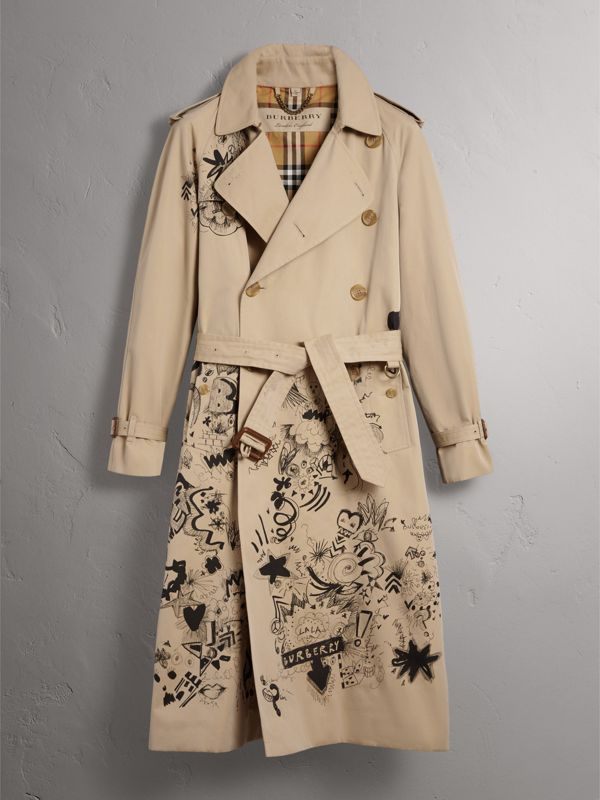 Doodle Print Cotton Gabardine Trench Coat in Honey - Men | Burberry - cell image 3