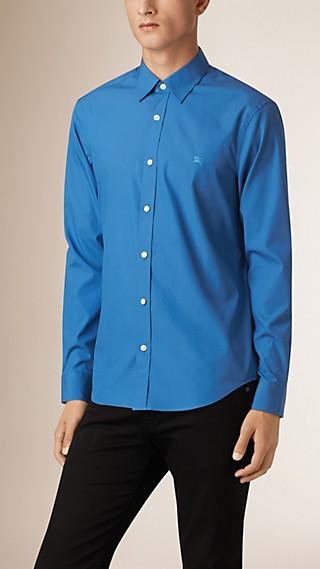 Camisa de popeline de algodão stretch