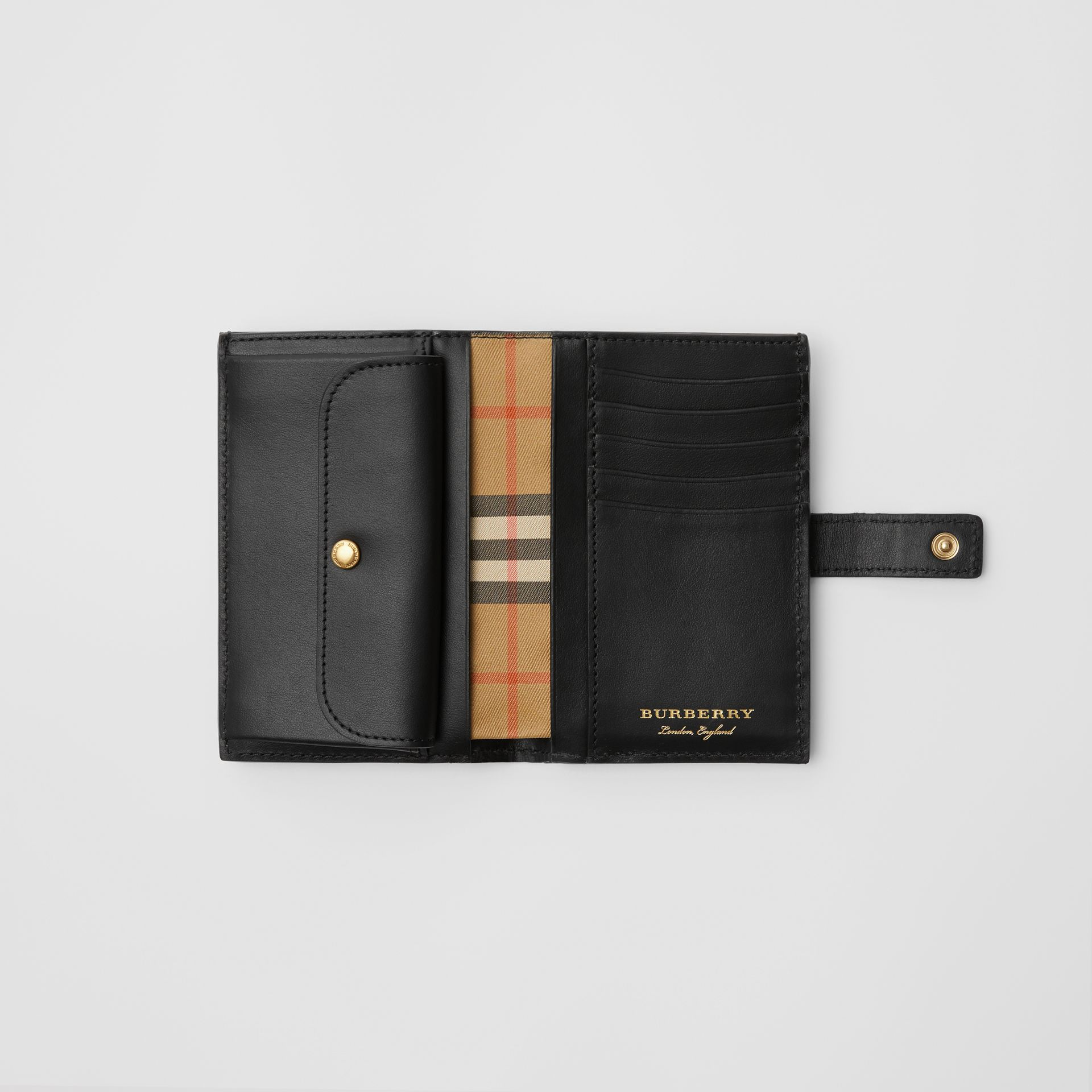Vintage Check and Leather Folding Wallet in Black - Women | Burberry Canada - gallery image 3