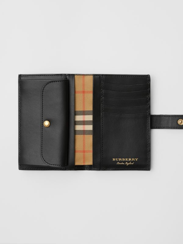 Vintage Check and Leather Folding Wallet in Black - Women | Burberry Hong Kong S.A.R - cell image 3