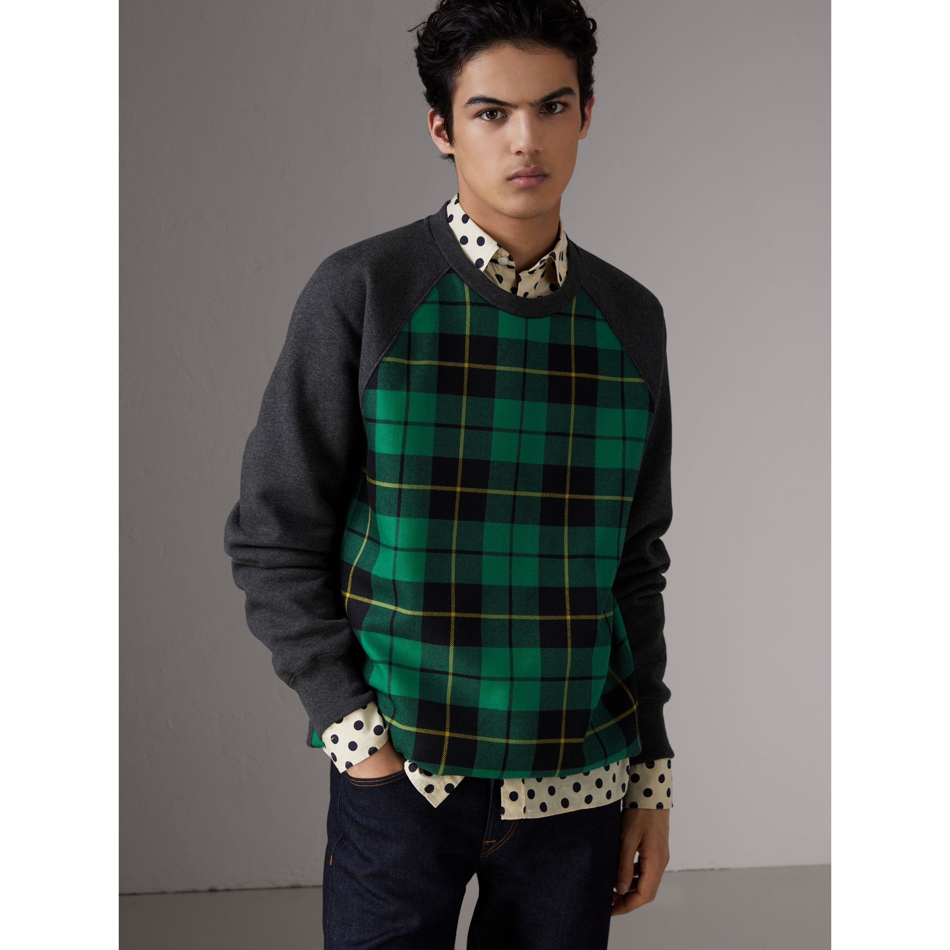 Tartan Panel Jersey Sweatshirt in Charcoal Melange - Men | Burberry - gallery image 4