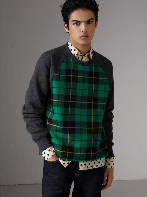 Tartan Panel Jersey Sweatshirt in Charcoal Melange