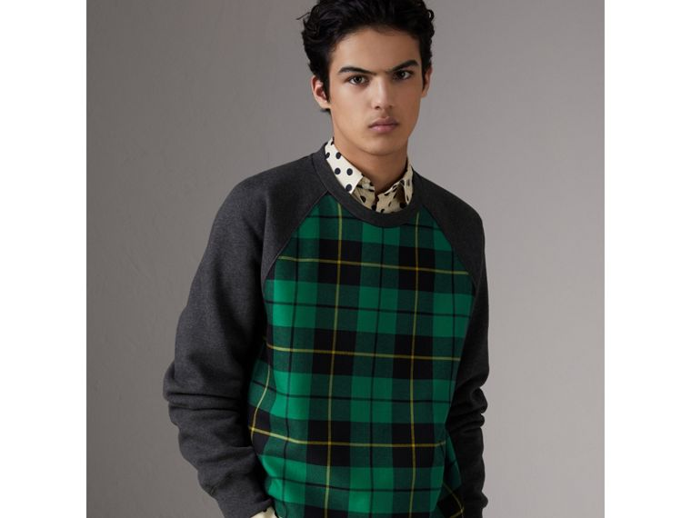 Tartan Panel Jersey Sweatshirt in Charcoal Melange - Men | Burberry - cell image 4