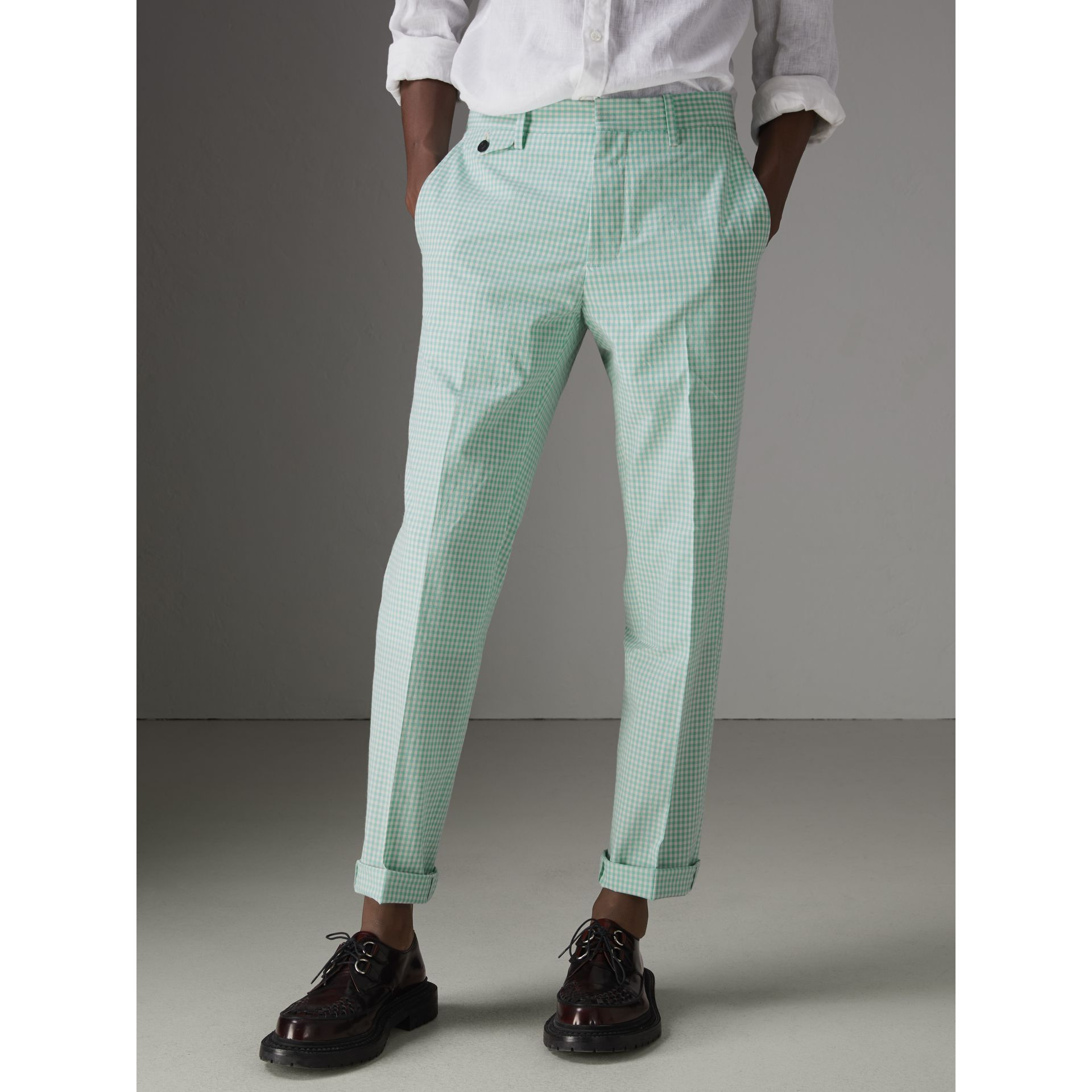 Gingham Cotton Tailored Trousers in Pale Opal - Men | Burberry Singapore - gallery image 4