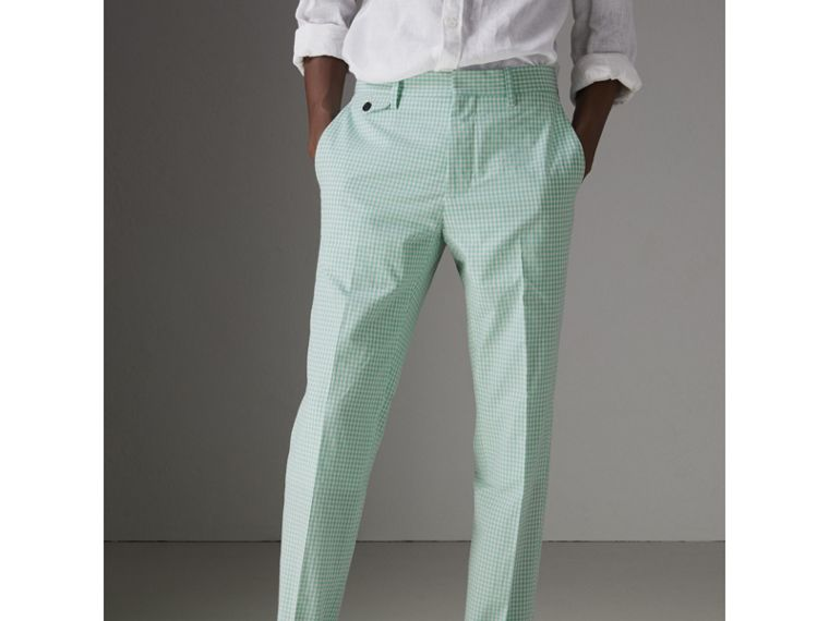 Gingham Cotton Tailored Trousers in Pale Opal - Men | Burberry - cell image 4