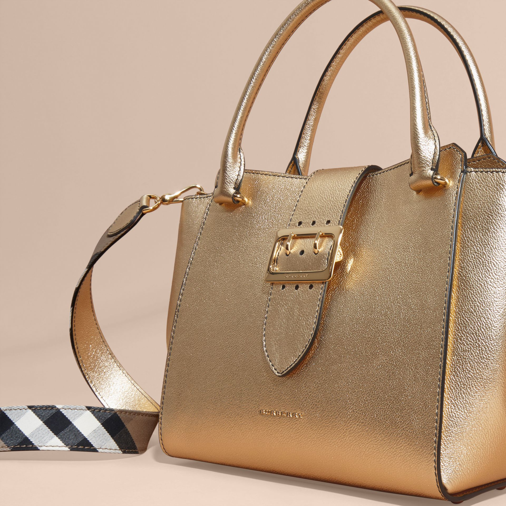 Gold The Medium Buckle Tote in Metallic Leather - gallery image 8