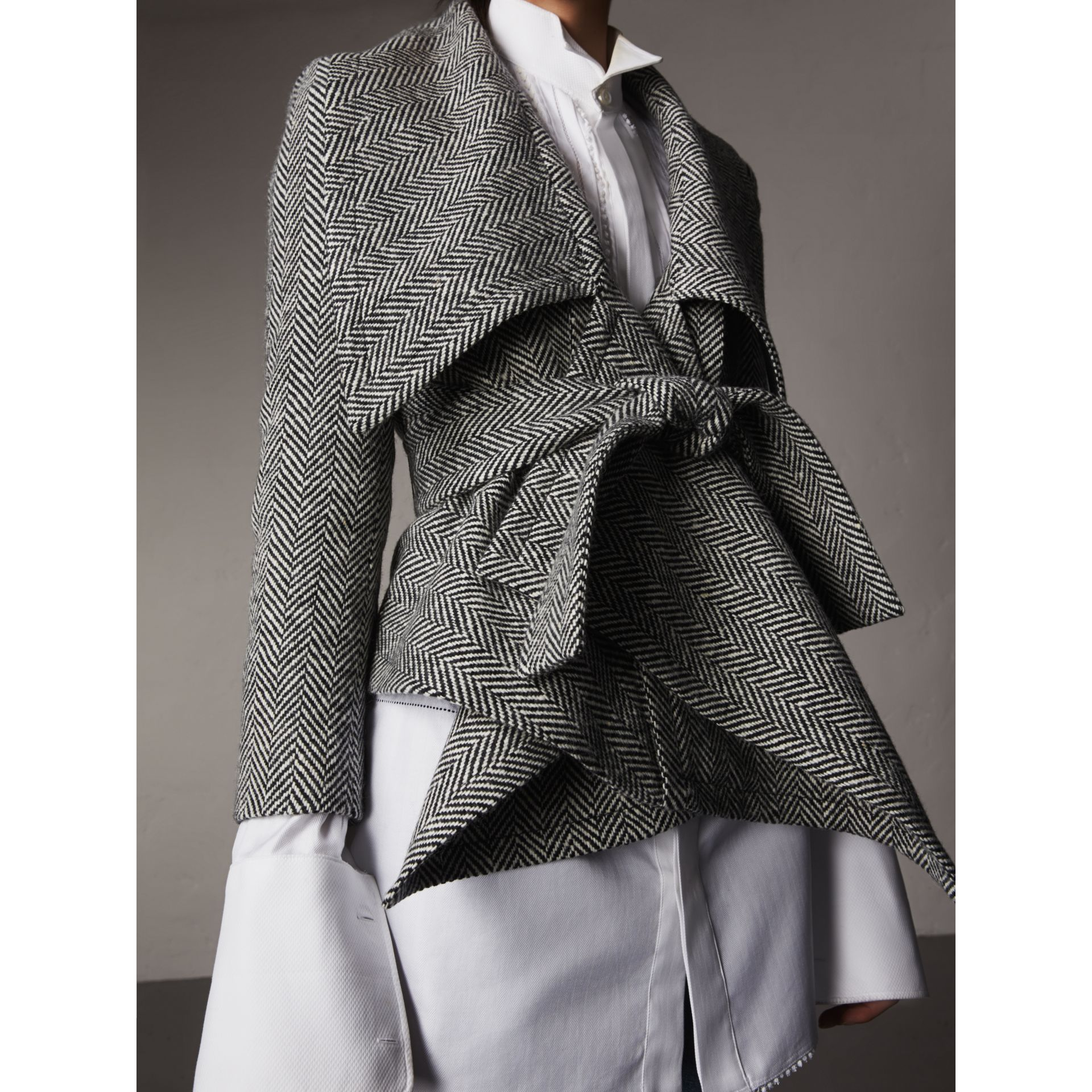 Herringbone Wool Cashmere Wrap Jacket in Black - Women | Burberry - gallery image 6