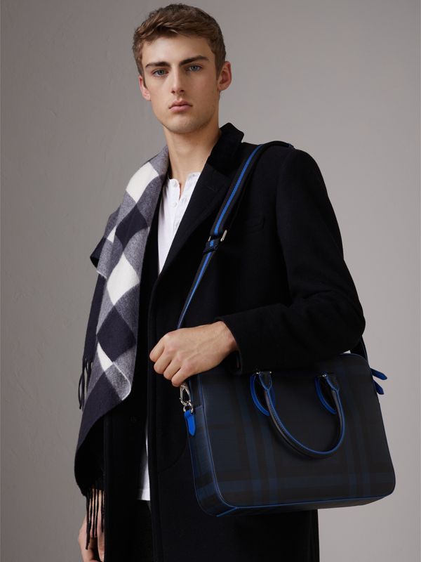 Medium Leather Trim London Check Briefcase in Navy/blue - Men | Burberry - cell image 3