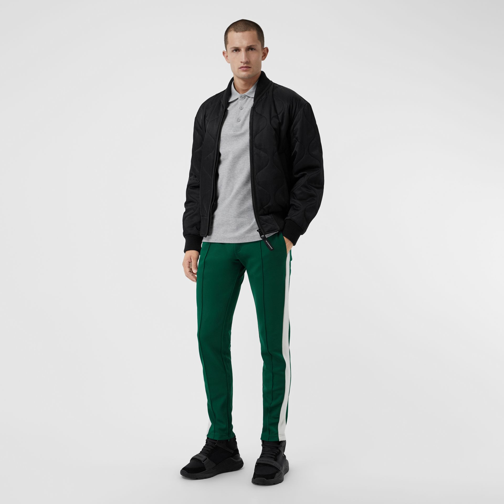 Sport Stripe Cotton Blend Drawcord Trousers in Opal Green - Men | Burberry Singapore - gallery image 0
