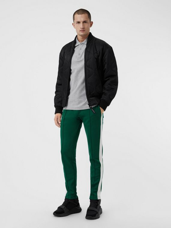Sport Stripe Cotton Blend Drawcord Trousers in Opal Green