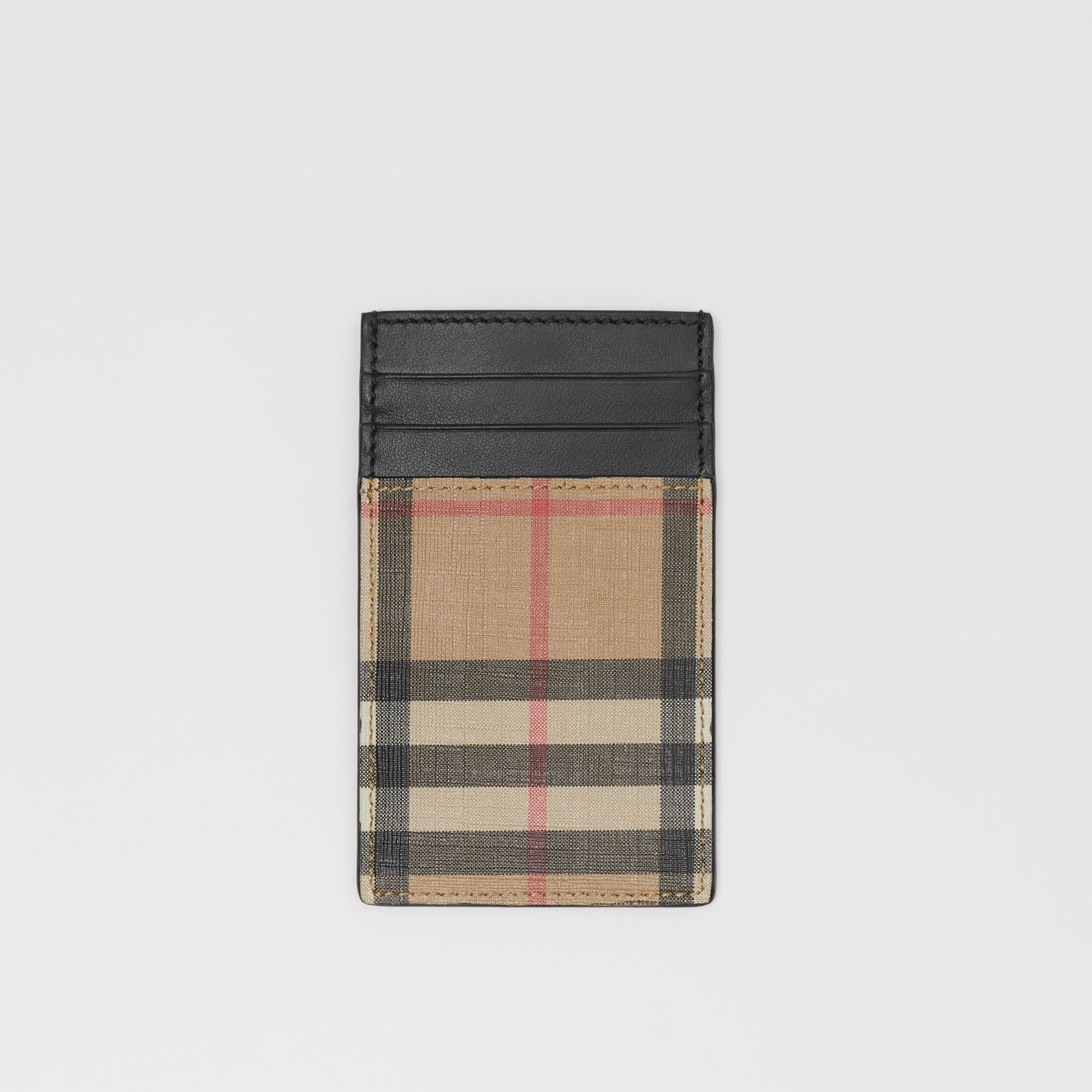Vintage Check E-canvas and Leather Card Case in Archive Beige - Men | Burberry Singapore - gallery image 0