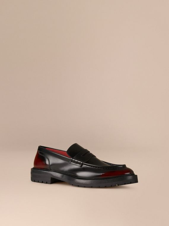 Rubber Sole Leather Loafers