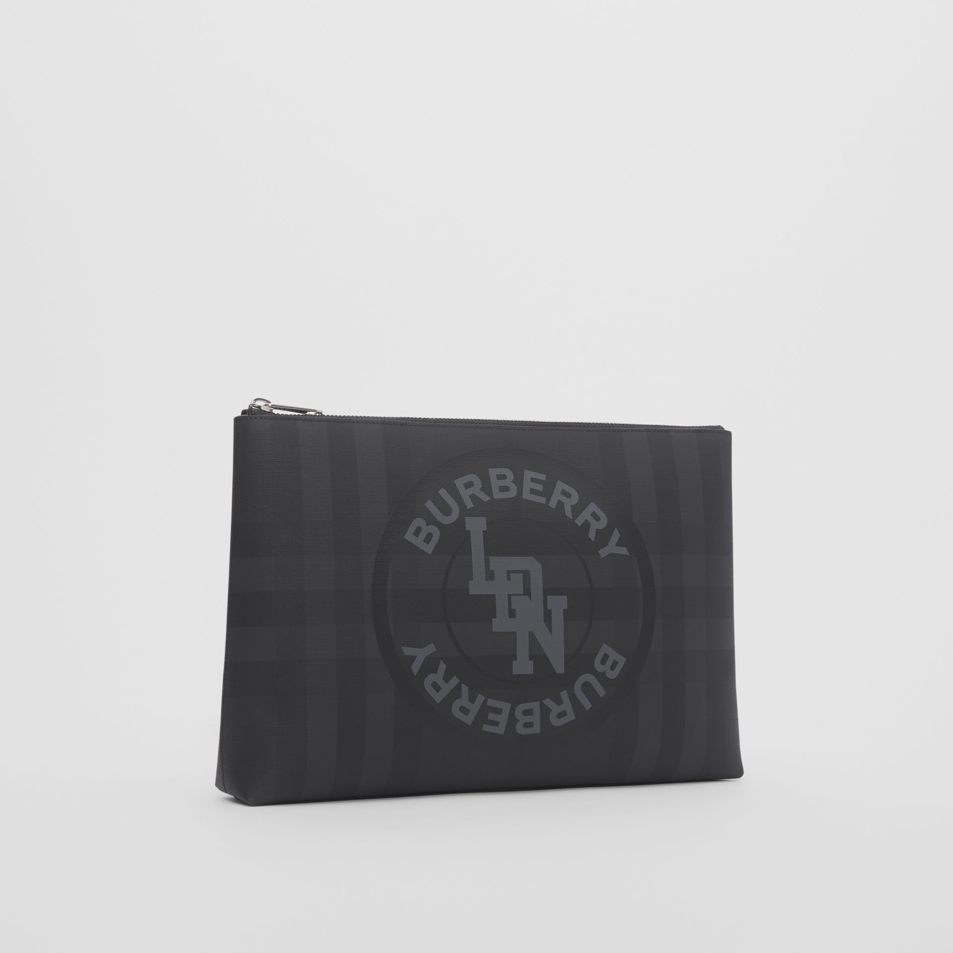 Logo Graphic London Check Zip Pouch in Dark Charcoal - Men | Burberry Hong Kong S.A.R - gallery image 5
