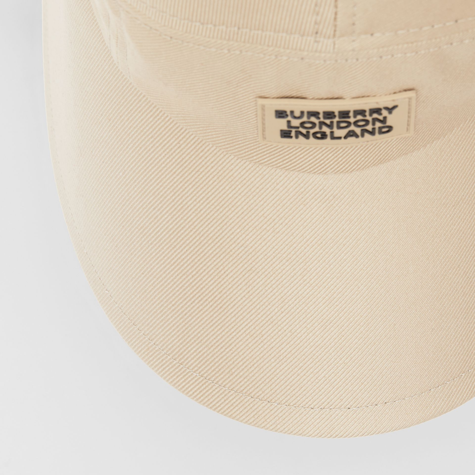 Logo Appliqué Cotton Twill Bonnet Cap in Soft Fawn | Burberry United Kingdom - gallery image 1