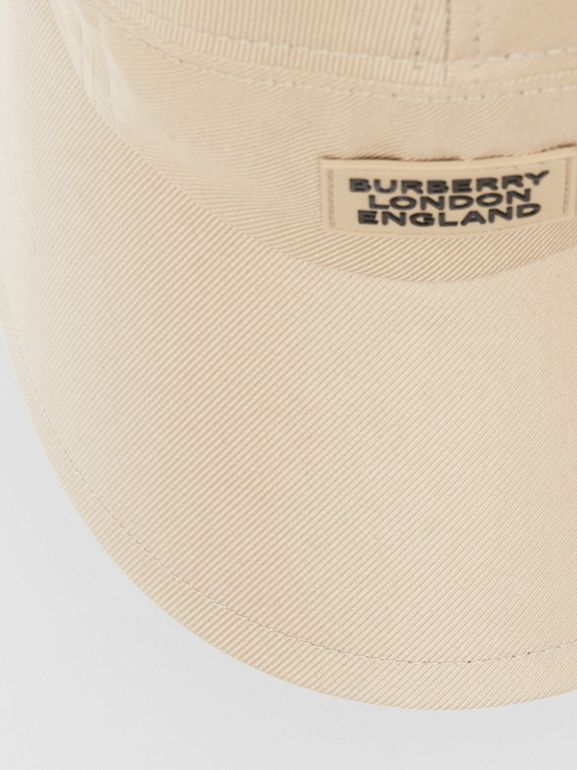 Logo Appliqué Cotton Twill Bonnet Cap in Soft Fawn | Burberry - cell image 1