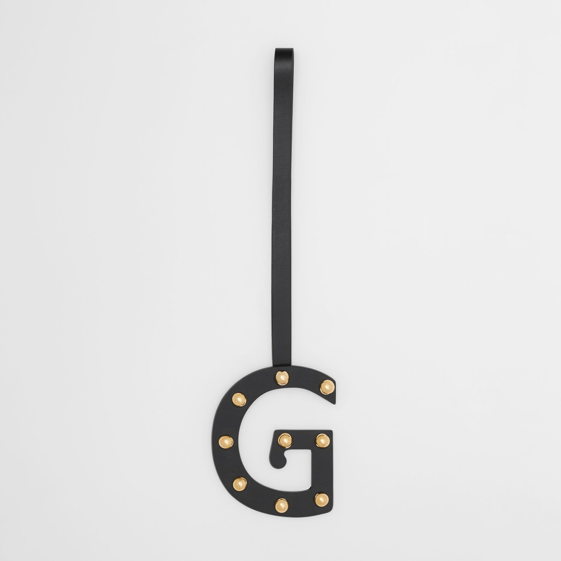 'G' Studded Leather Alphabet Charm in Black/light Gold - Women | Burberry Hong Kong S.A.R - gallery image 0