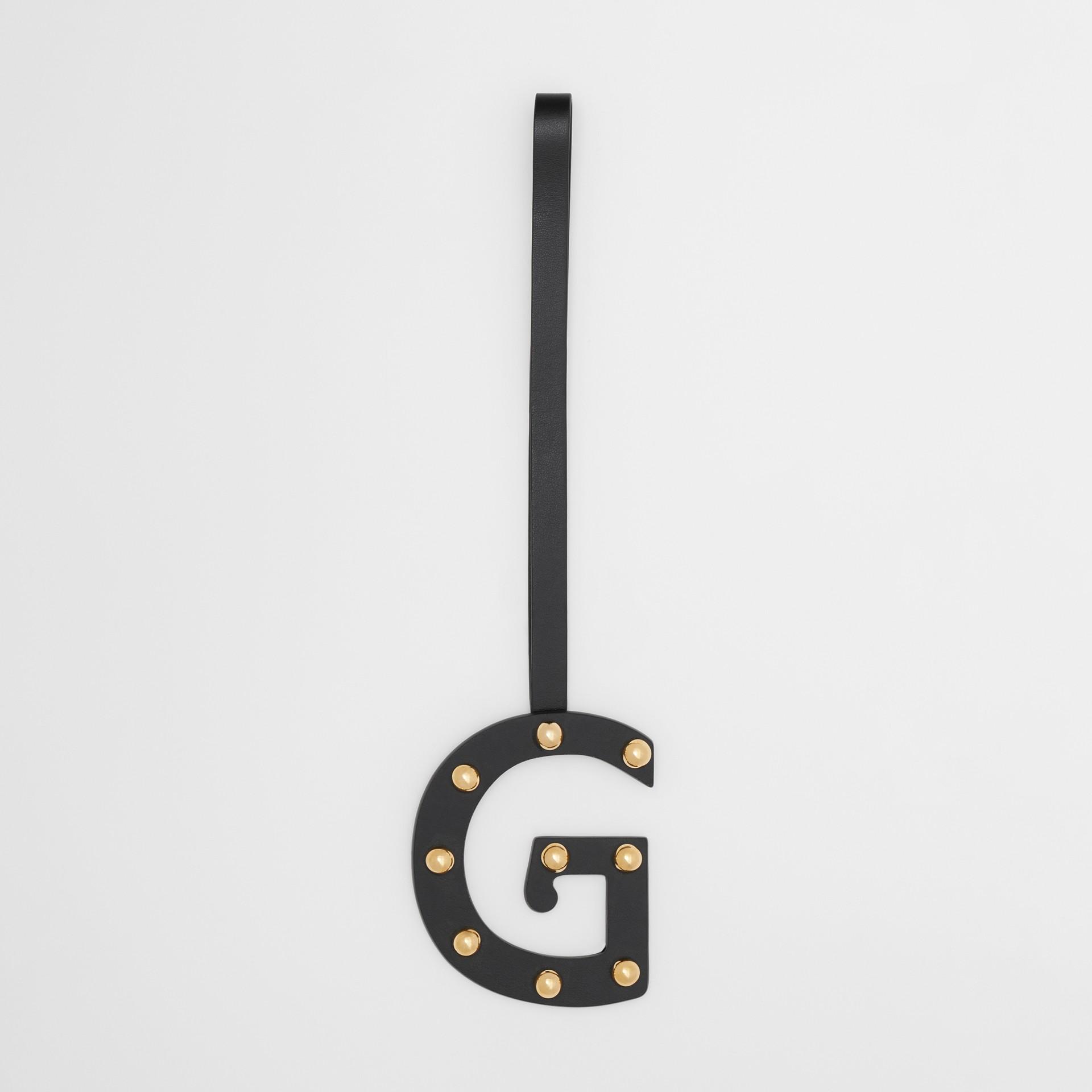 'G' Studded Leather Alphabet Charm in Black/light Gold - Women | Burberry Australia - gallery image 0