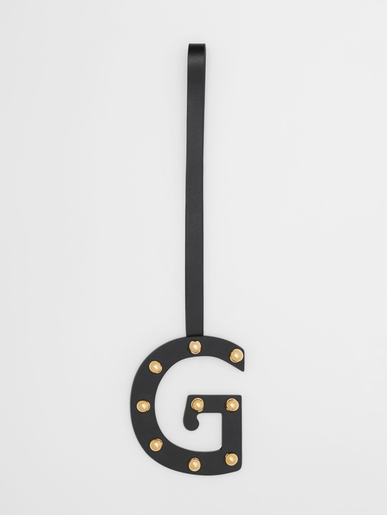 'G' Studded Leather Alphabet Charm in Black/light Gold