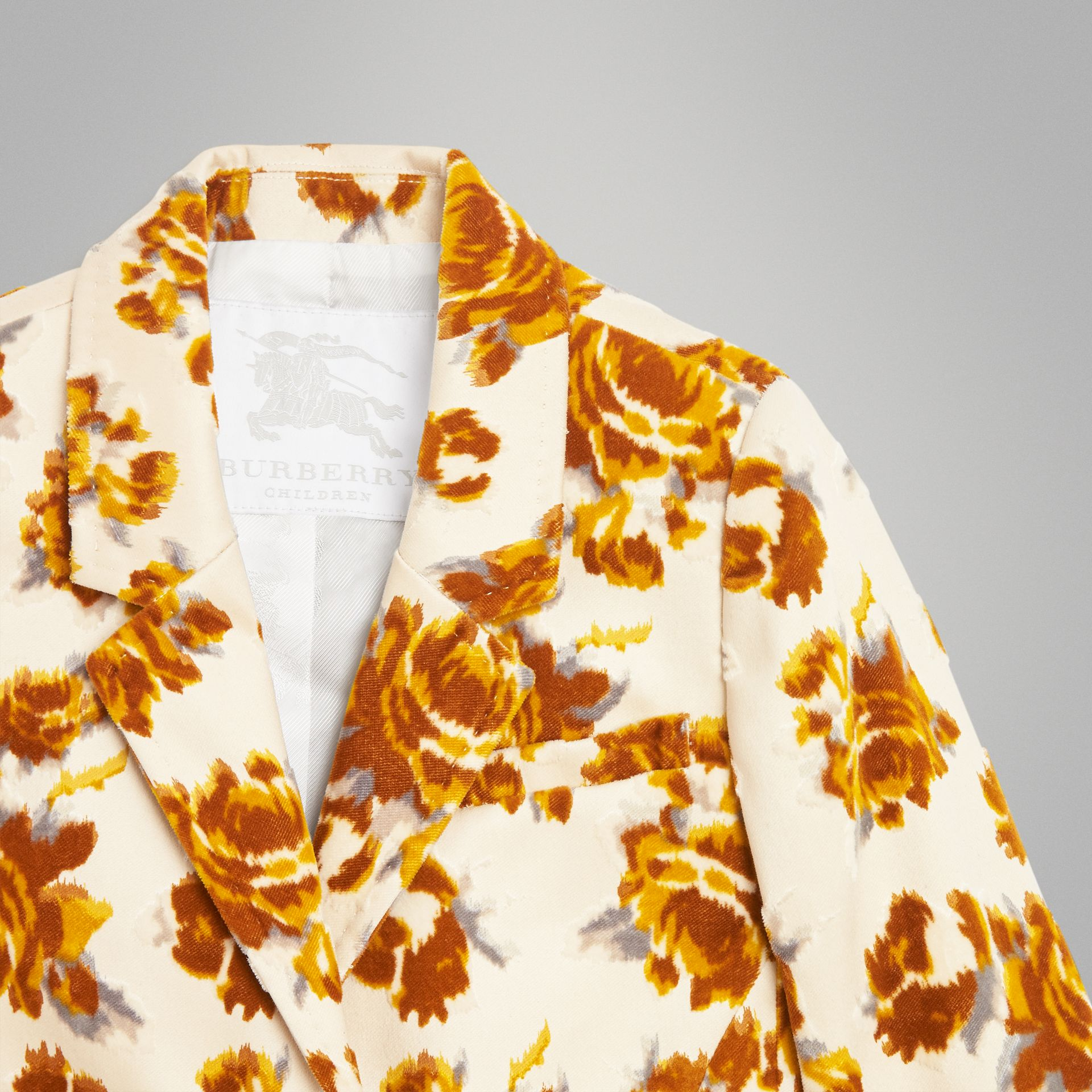 Floral Velvet Jacquard Blazer in Mustard Pattern | Burberry Singapore - gallery image 4