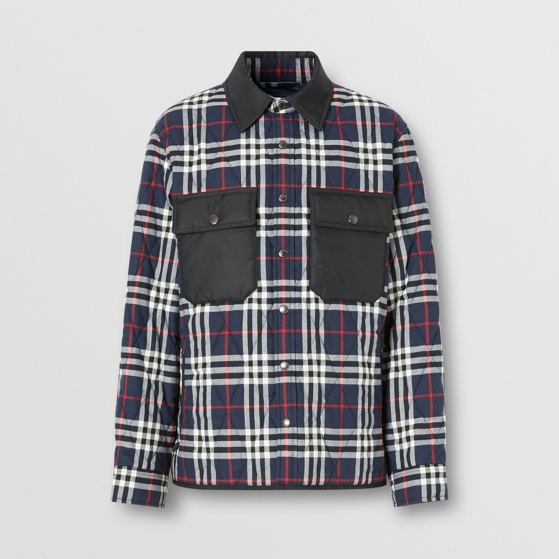 Quilted Check Cotton Flannel Overshirt in Navy - Men | Burberry - gallery image 3