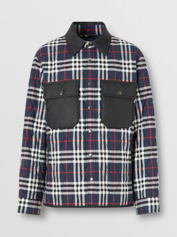 Quilted Check Cotton Flannel Overshirt in Navy - Men | Burberry United Kingdom - cell image 3