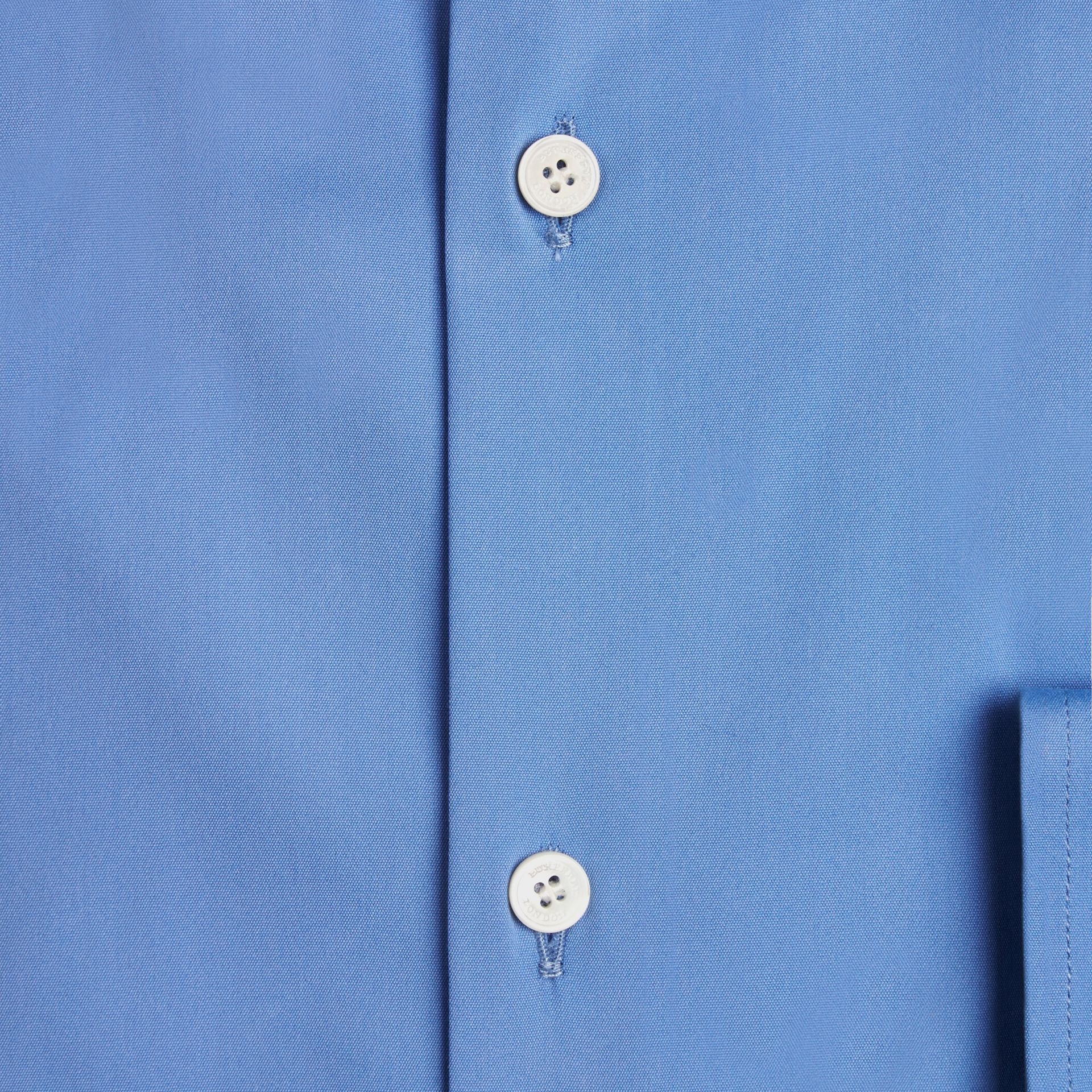 Modern Fit Button-down Collar Stretch Cotton Shirt in Mid Blue - gallery image 2