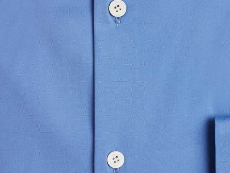 Mid blue Modern Fit Button-down Collar Stretch Cotton Shirt Mid Blue - cell image 1