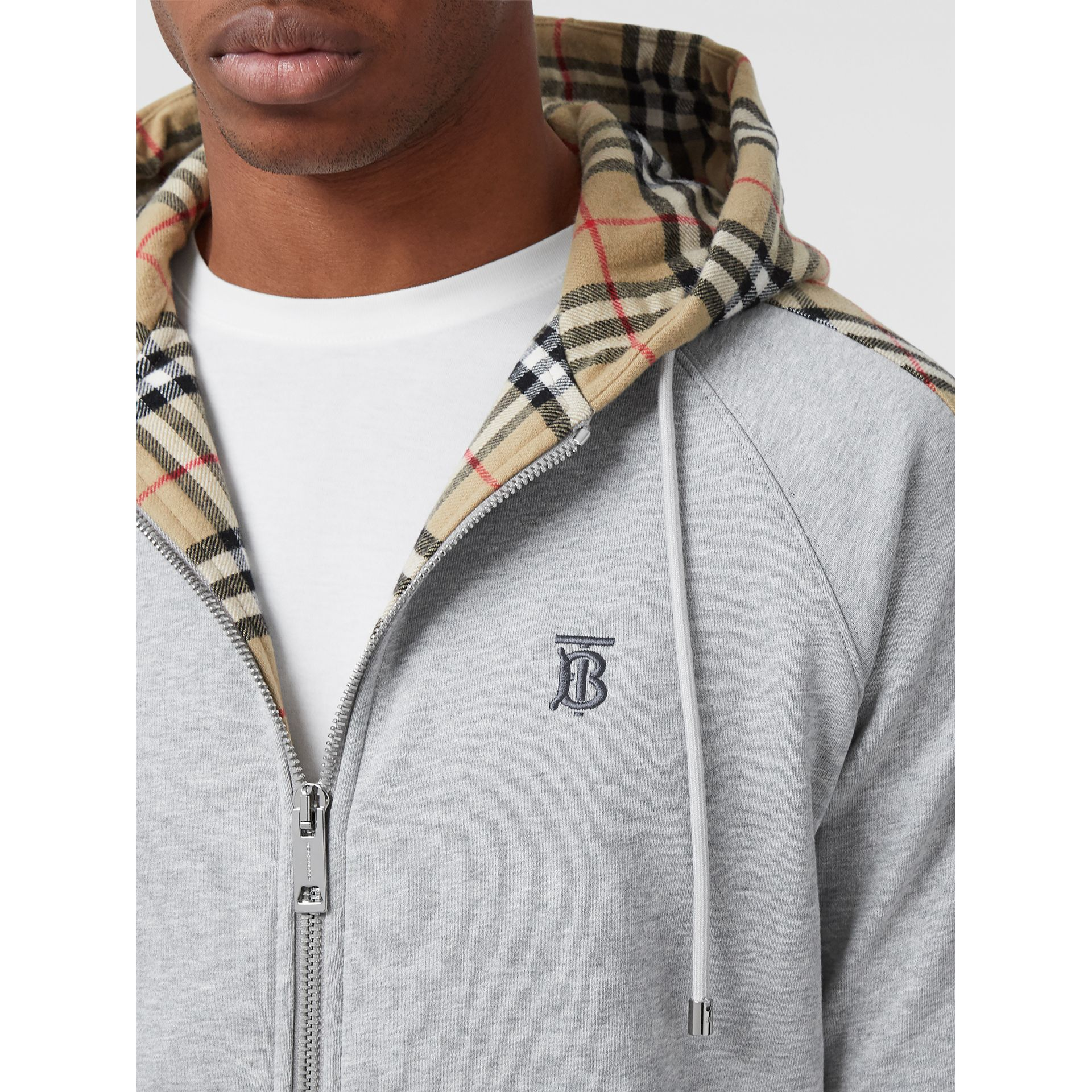Vintage Check Panel Cotton Hooded Top in Pale Grey Melange - Men | Burberry - gallery image 5