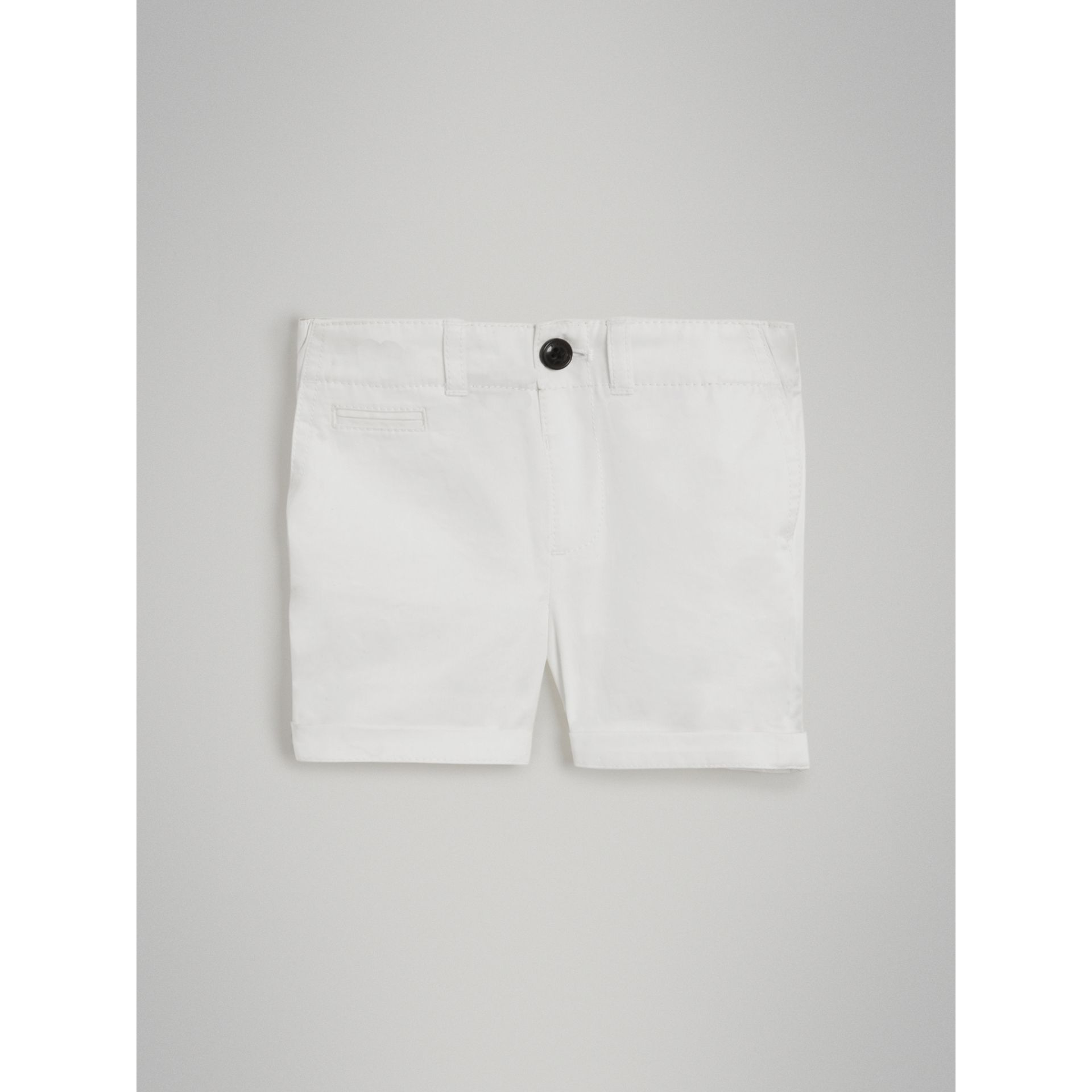 Cotton Twill Chino Shorts in White | Burberry - gallery image 2