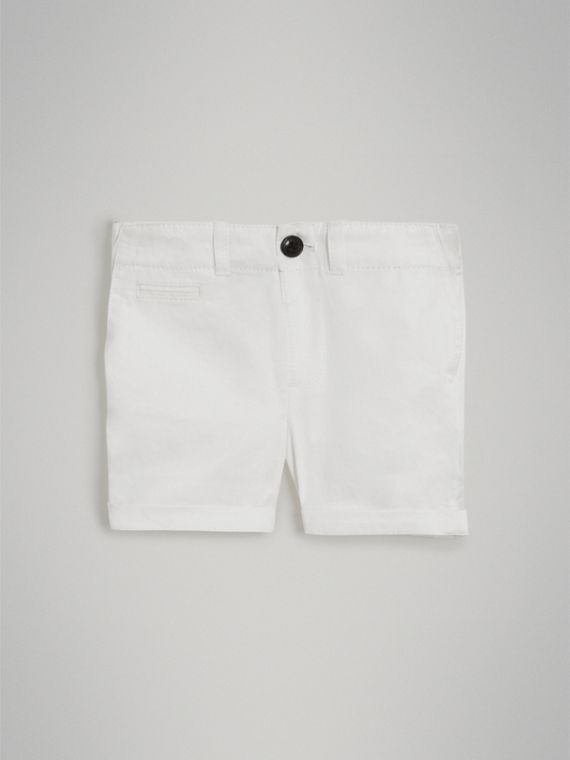 Cotton Twill Chino Shorts in White | Burberry - cell image 2