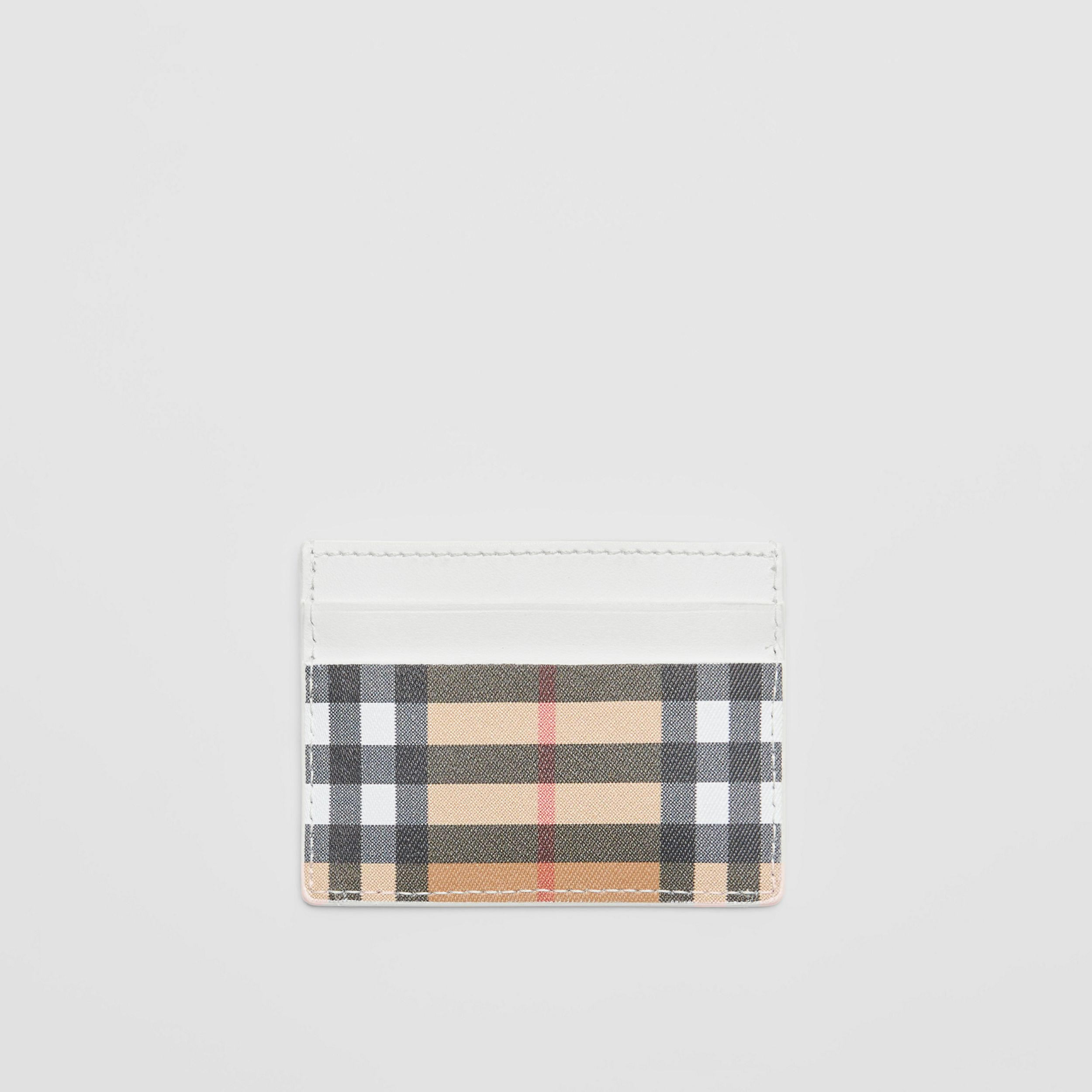 Vintage Check and Leather Card Case in Chalk White - Women | Burberry - 1