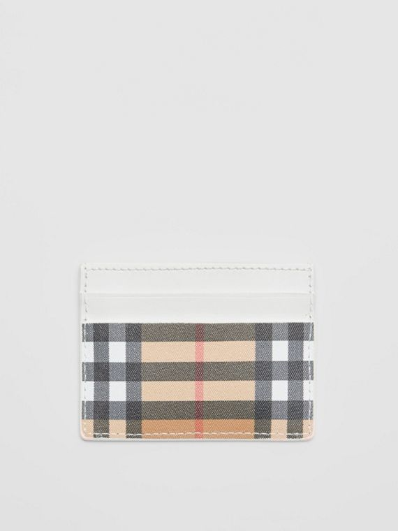 Vintage Check and Leather Card Case in Chalk White