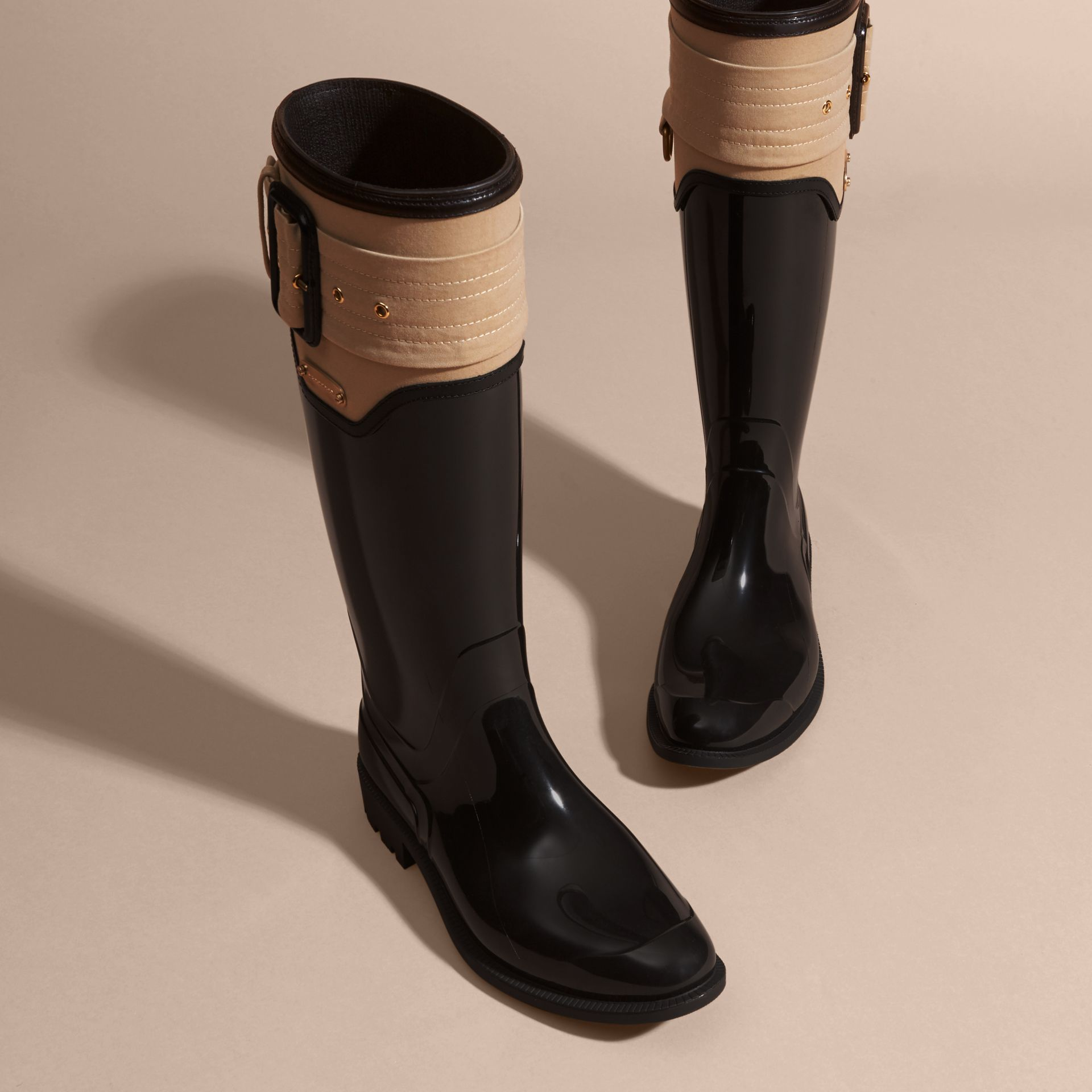 Black/honey Trench Belt Detail Rain Boots - gallery image 3