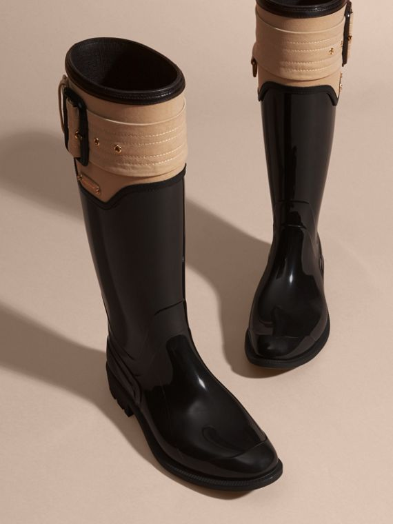 Black/honey Trench Belt Detail Rain Boots - cell image 2