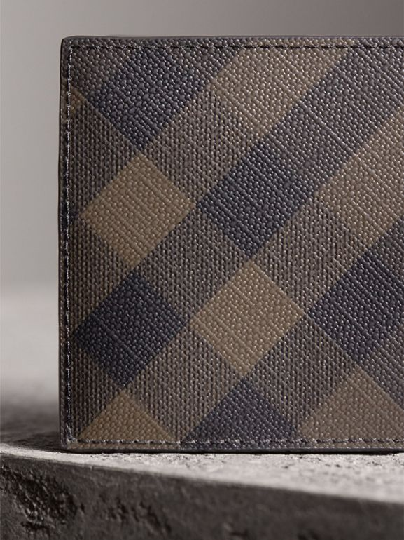 London Check and Leather Bifold Wallet in Chocolate/black - Men | Burberry United Kingdom - cell image 1