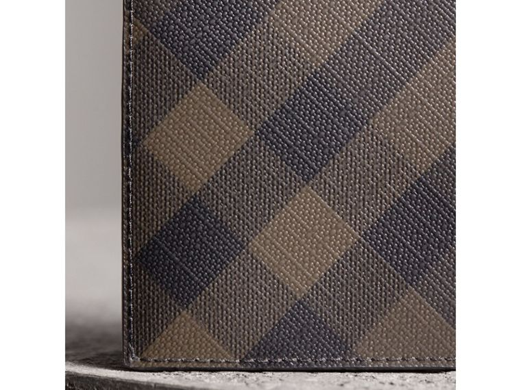 London Check and Leather Bifold Wallet in Chocolate/black - Men | Burberry - cell image 1
