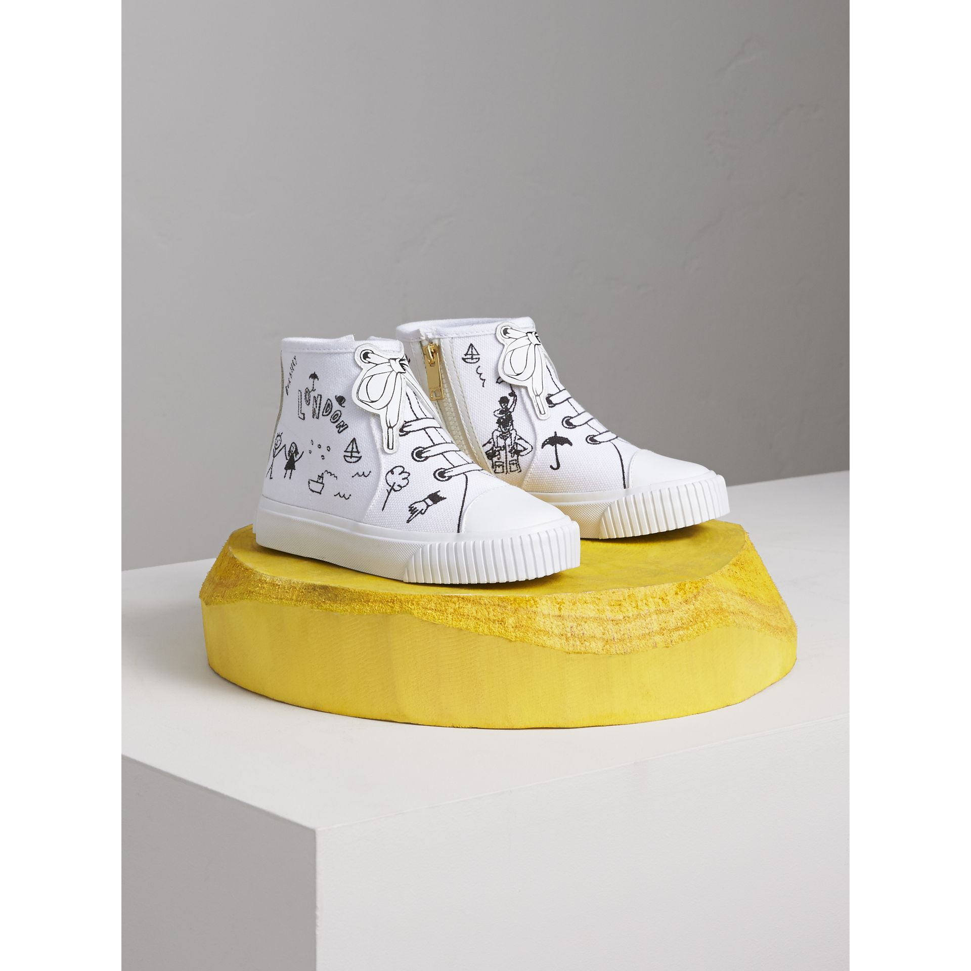Doodle Print High-top Trainers in Optic White | Burberry - gallery image 1