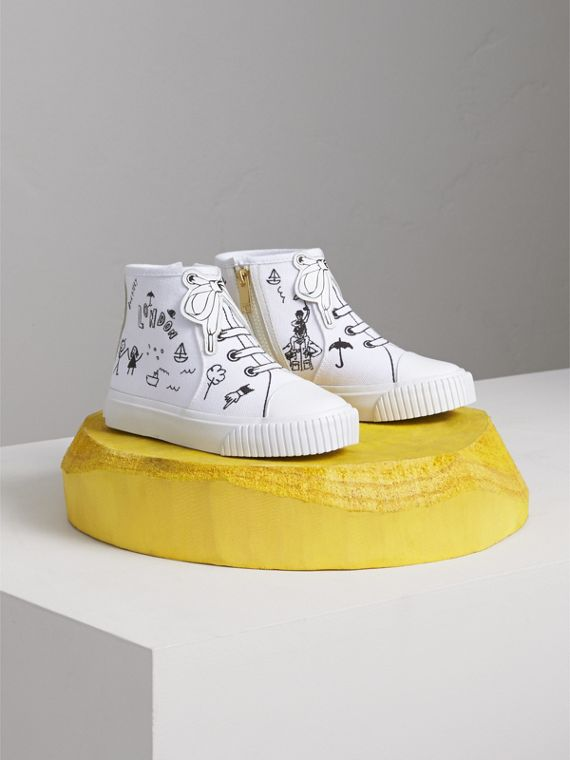 Doodle Print High-top Trainers | Burberry Singapore