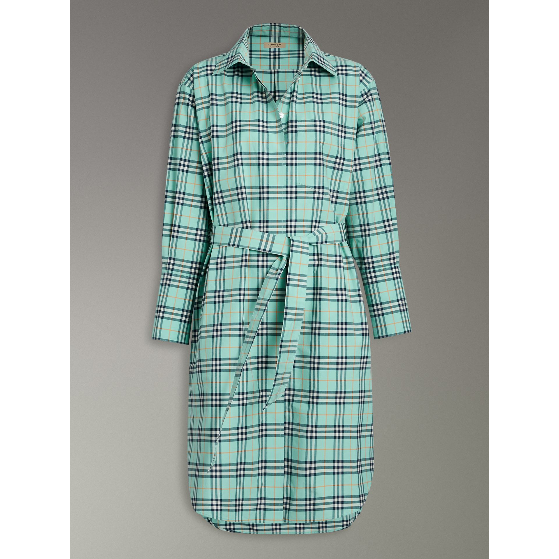 Tie-waist Check Cotton Shirt Dress in Bright Aqua - Women | Burberry - gallery image 3