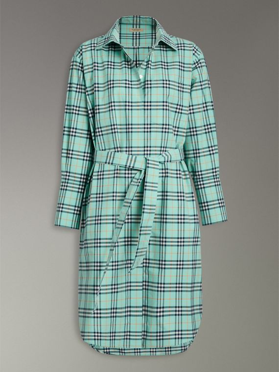 Tie-waist Check Cotton Shirt Dress in Bright Aqua - Women | Burberry - cell image 3