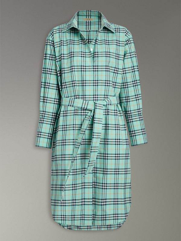 Check Cotton Tie-waist Shirt Dress in Bright Aqua | Burberry - cell image 3